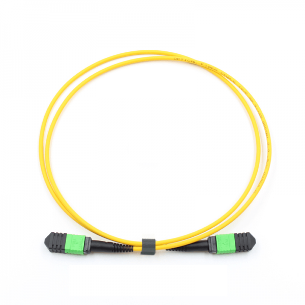 MPO Female to MPO Female Connectors OS2 9/125um Single-mode Type B 12 core LSZH Yellow Trunk Optic Cable