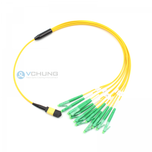 MPO Female to LC 12Fibers OS2 Single Mode 9/125um Breakout Optical Fiber Cables