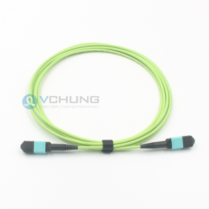 MPO Female 12 Cores OM5 Multimode IL0.7dB Lime Green Color LSZH 3.0mm Round Optical Fiber Cable