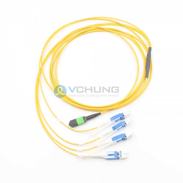 MPO Female to LC Uniboot HD connector 8 cores SM 9/125um fan-out Trunk cable LSZH
