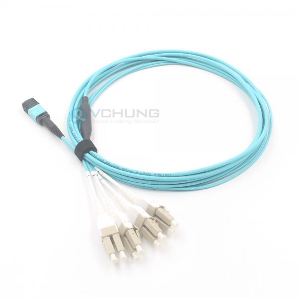 MPO Female to LC uniboot 8-cores OM3 50/125um Multimode Breakout LSZH Aqua