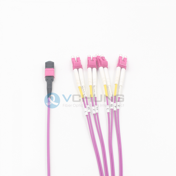 8 Fibers OM4 Multimode LSZH Purple Jacket MPO Female to 4xLC Duplex Breakout Optical Fiber Cable