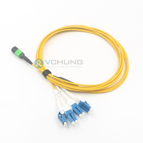 MPO to 4xLC Uniboot single mode fiber optic cable OS2 9/125um breakout cable LSZH Yellow