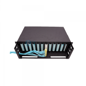 12Cores or 24Cores MPO Male to LC Harness Patchcord 24 Ports MPO Cassette Panel Mounted 1U Rack