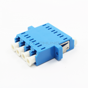 LC/UPC 4Channels Adapter with flange single-mode Blue color One-piece Type