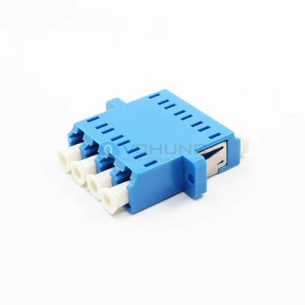 LC/UPC 4Channels Single-Mode Blue Color Adapter With Flange(One-piece Type)