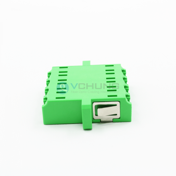 LC APC Female to Female 4-Core Singlemode Green Color Adapter With Flange(One-piece Type)