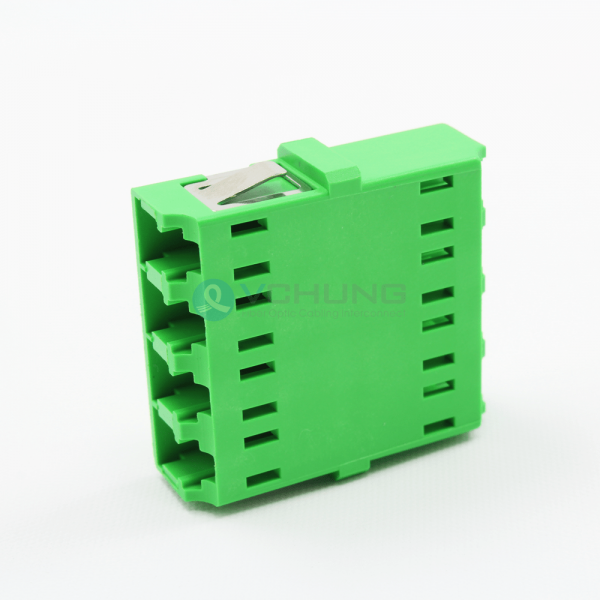 LC/APC 4Cores Single-Mode IL≤0.20dB Green color no flange Adapter(One-piece Type)