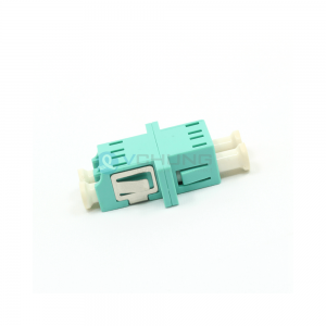 LC UPC OM3 Multimode Aqua Color Duplex Fiber Optical Adapter With Flange(Welding Type)