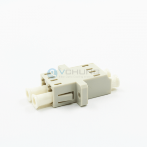 LC/UPC Multimode Beige Color Duplex Adapter With Flange(One-piece Type)