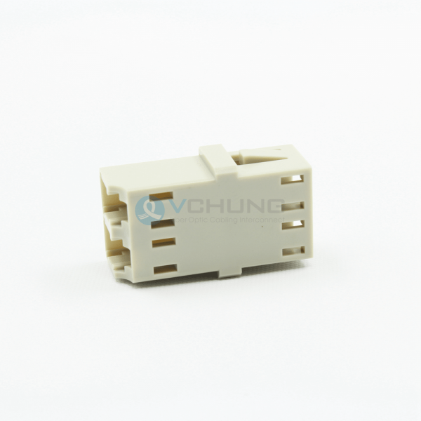 Fiber optical Adapter without flange LC/UPC duplex MM Beige One-piece