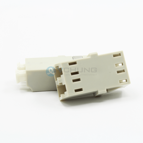 LC/UPC to LC/UPC Duplex Multimode Without Flange Beige Color Fiber Optical Adapter One-Piece Type