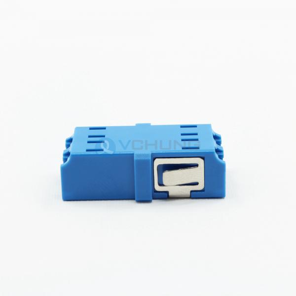 Fiber optic LC/UPC Adapter duplex no flange singlemode Blue color One-piece