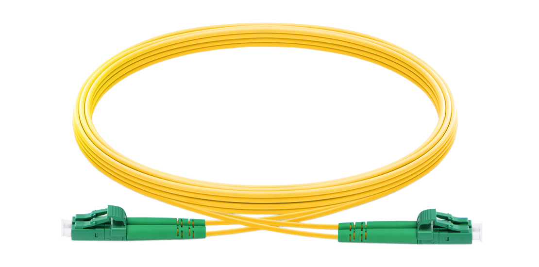 LC/APC to LC/APC Single-Mode Green Connnctor 2.0mm Duplex LSZH Yellow cable Patchcord