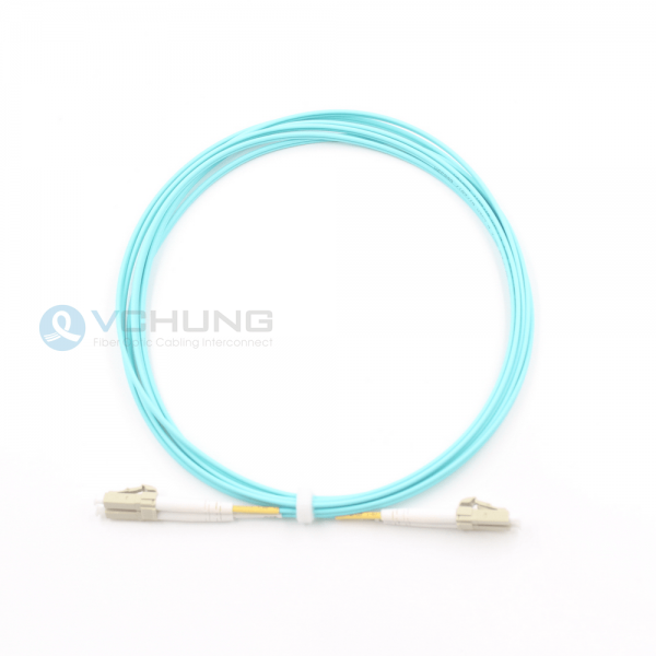Duplex 2.0mm cable patch-cord LC/UPC to LC/UPC OM3 fiber aqua color and LSZH 5m