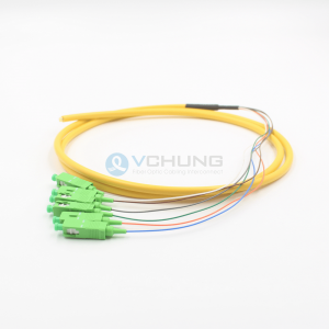 SC APC IL0.30dB 6-Cores Single-Mode SMF 5.0mmTrunk Fiber Optical Pigtail Cable