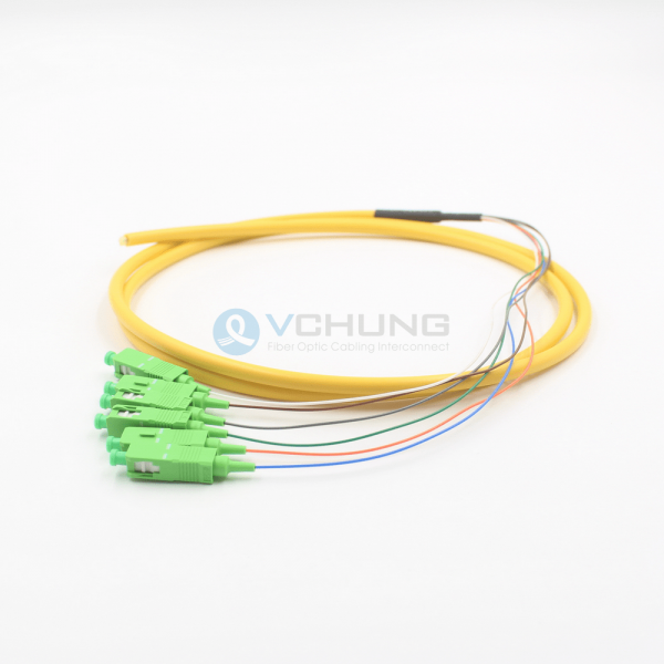 SC APC IL0.30dB 6-Cores Single-Mode SMF 5.0mmTrunk Fiber Optical Pigtail Cable