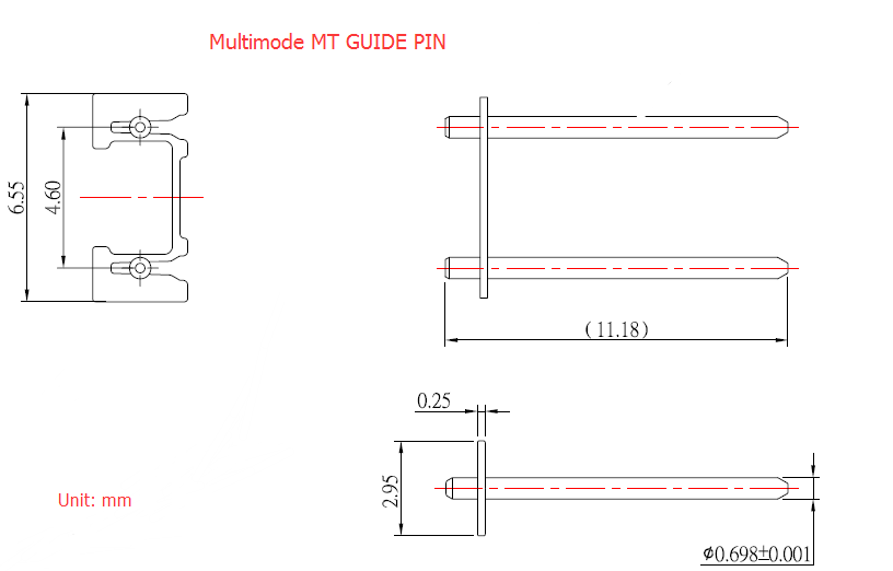 Multimode or Sinled-Mode with 0.25mm Keeper Stainless Steel Material MPO Guide Pins