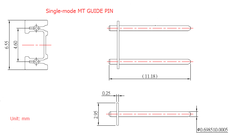 MPO guide pins multimode guide pin 0.25mm keeper stainless steel material