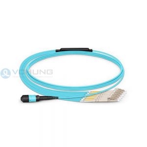 MPO Female to 4xLC 8-Fibers OM3 Multimode LSZH Aqua Breakout Cable